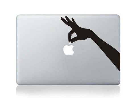 Plucking an apple Macbook Decal and sticker
